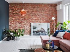 Colour and warmth Living Spaces, Living Room, Outdoor Furniture Sets, Outdoor Decor, Oslo, Brick Wall, Room Interior, Future House, Nest