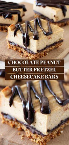 Peanut Butter Pretzel, Peanut Butter Desserts, Homemade Peanut Butter, Chocolate Peanut Butter Cheesecake, Peanut Butter Drizzle Recipe, Homemade Snickers, Pretzel Desserts, Easy Desserts, Delicious Desserts