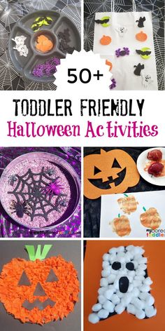 Halloween Archives - My Bored Toddler Over 50 Halloween crafts for toddlers and Halloween activities for toddles. This collection includes easy crafts that are Halloween friendly. Halloween sensory bins and sensory play ideas. Halloween Arts And Crafts, Fete Halloween, Halloween Party Games, Halloween Themes, Fall Crafts, Holiday Crafts, Preschool Halloween Crafts, Halloween Activities For Toddlers, Craft Activities For Kids