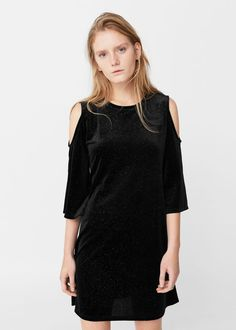 Velvet off-shoulder dress - Dresses for Woman | MANGO USA