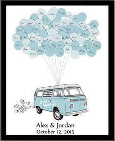 VW Van Hochzeit Gäste Buch Drucken mit Ballons für bis zu 150 Personen