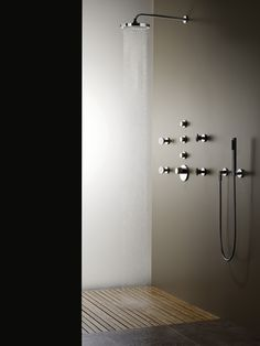 "Dornbracht Meta.02 Rain shower with wall connection, 11 3/4"" diameter, #28579970, $1110 Dornbracht Meta.02 Hand shower set #27806625, $318"