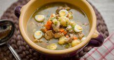 Tárkonyos bárányraguleves krumpligombóccal Cheeseburger Chowder, Potato Salad, Beans, Soup, Potatoes, Vegetables, Ethnic Recipes, Vegetable Recipes, Soups