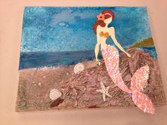 Mermaid on beach Prima doll on canvas