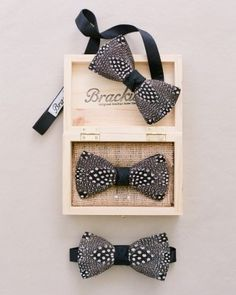 The groom and his 'men wore silk and guinea­ feather bow ties by Brackish.