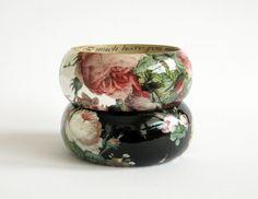 Bangle wood bracelet decoupage shabby chic victorian by LENNYshop, €36.00