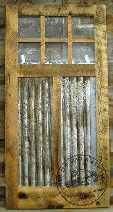 stock 42 x 84 six lite w/ rusty galvanized steel panels