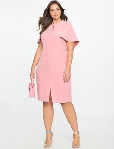 Cape Top Sheath Dress Mauve Pink