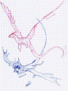 ☕️ a cup of milk tea ☕️ Mythical Creatures Art, Magical Creatures, Creature Concept Art, Creature Design, Animal Sketches, Animal Drawings, Dragon Anatomy, Dragon Poses, Dragon Sketch