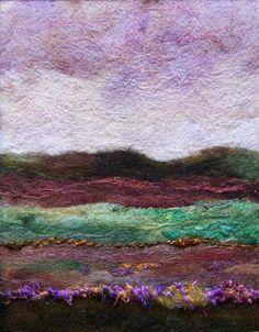 No678 Lavender Sky  Needlefelt Art XLarge by Deebs on Etsy, $135.00