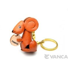 GENUINE 3D LEATHER MOUSE WITH CHEESE KEYCHAIN MADE BY SKILLFUL CRAFTSMEN OF VANCA CRAFT IN JAPAN. #handmade #keyfob #gift #unique #art #design #cute #animal