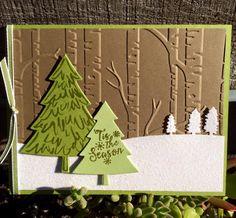 Krystal's Cards: Stampin' Up! Peaceful Pines - Snowy Woodland #stampinup #krystals_cards #peacefulpines #handmadefortheholidays #christmascard #handstamped #papercrafts #cardmaking