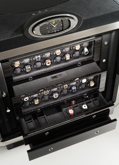 luxury safes - Buben & Zorweg set out to launch a newly innovative luxury safe that is built with high security. The design is innovative, as it is to protect. Watch Display Case, Watch Storage, Aftershave, Cool Watches, Watches For Men, Men's Watches, Magnum, Bracelet Cuir, Luxury Watches