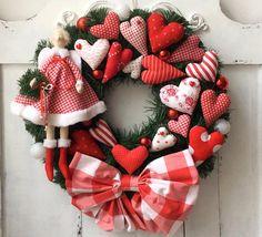 Christmas Wreath with Tilda angel Holiday Wreath Winter Wreath