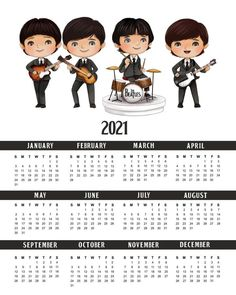 Free Printable Calendar, Free Printables, Beatles Birthday, Beatles One, Keep Company, Party Banners, The Fab Four, Planner, Frame It