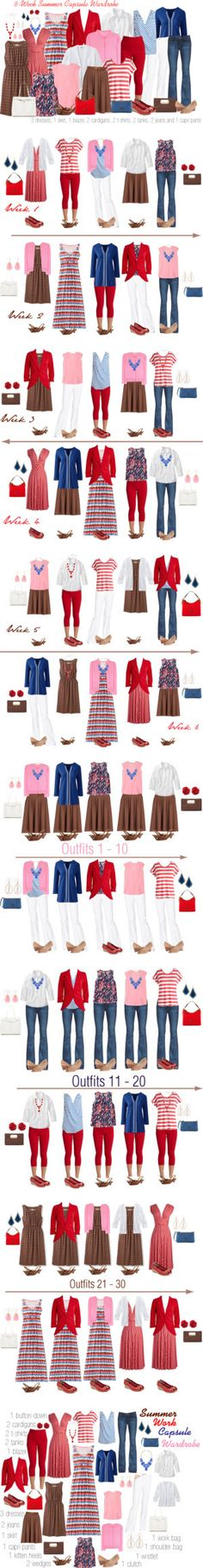 Summer Work Capsule Wardrobe: Pink, Brown, Red & Blue by kristin727 on Polyvore.