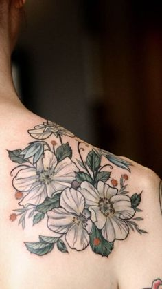 Alice Kendall of Wonderland Tattoos in Portland, OR.  LOVE this style of floral design, seems to be the specialty of the whole shop, at which it appears to be impossible to get an appointment.