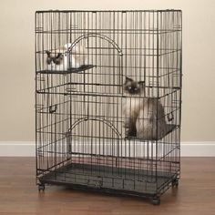 This Easy cat cage from ProSelect features a black wire construction. This crate closes with a convenient slide latch. The tray is removable for easy clean up.  Also includes two perches for your cat's enjoyment.