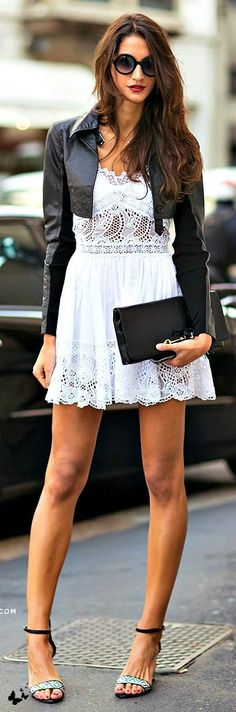 White Lace Mini Dress with Leather Moto | Chic Str...