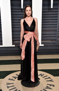 Dakota Johnson wore a dress by Gucci to the Oscars 2017 afterparties.