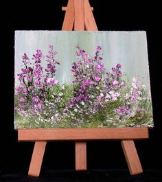 Purple Flowers3x4 miniature oil original oil by valdasfineart