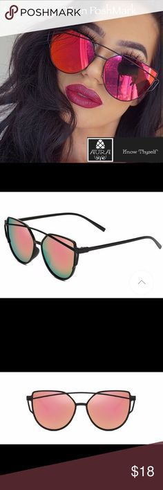 🌺Pink Mirrored🌺 Cat Eye Crosswire Sunglasses The cat's out of the bag and these trendy shades will surely attract attention. 100%  plastic black frame with pink mirrored cat eye shaped lenses. Goes great with all personal styles whether you were a boho babe, sophisticated lady or sporty gal! Bundle these with more amazing items from Aüra to save 10%! Only the best from Aüra! Aura Accessories Sunglasses