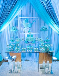 Glam Tiffany blue and white baby shower party! See more party ideas at CatchMyParty.com!