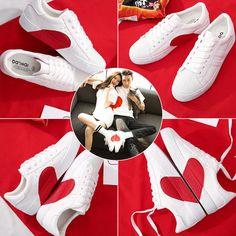 사랑하는 작은 흰색 신발 여성 봄 2018 새로운 야생 한국어 신발 단 웨이 신발 애호가 신발 하트 모양의 신발과 제나라 White Sneakers, Eyewear, Basket, Shoe Bag, Clothes For Women, Clothing, Bags, Shoes, Fashion