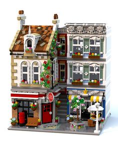 This is my moc modular building featuring a post office, chip shop and much more set around a small town square. Village Lego, Lego Christmas Village, Hama Beads Minecraft, Lego Minecraft, Perler Beads, Minecraft Skins, Minecraft Buildings, Lego Modular, Lego Design