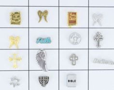 Religious floating charms for memory lockets, Origami owl lockets.