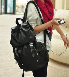 Flip Stud Backpack.black leather backpacks for fashion girls ...