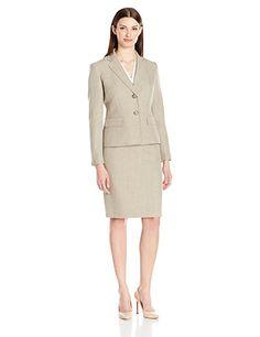 Le Suit Women's Melange 2 Button Jacket Skirt, Sand, 18