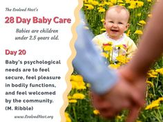 """What Does A Baby Need? There is a lot of misinformation about babies and their needs, and parents are often encouraged to ignore baby's signals. Bad idea. Babies are """"half-baked"""" at birth and have much to learn with the help of physical and emotional support from caregivers. Taking care of baby's needs is an investment that pays off with a happier, healthier child and adult. Here are 28 days of reminders about babies and their needs. Visit the www.EvolvedNest.org for more on becoming nested! Taking Care Of Baby, 28 Days, Baby Needs, 5 Year Olds, Caregiver, Healthy Kids, Baby Care, Physics, The Help"""