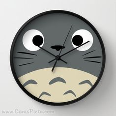 Curiously Totoro Wall Clock in Natural Wood Black or White Frames Anime Medium Manga Troll Hayao Miyazaki Studio Ghibli Gift Home Decorative by CanisPicta on Etsy https://www.etsy.com/listing/179121622/curiously-totoro-wall-clock-in-natural