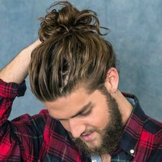 Messy Wavy Man Bun + Beard