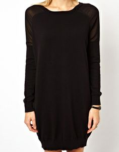 Image 3 of ASOS Jumper Dress With Sheer Woven Inserts