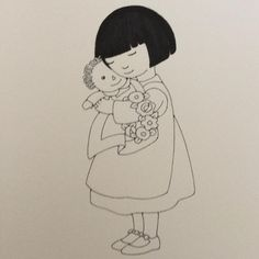 """Mary Engelbreit """"A drawing for the Nativity pageant book. this is Mary, after the show, hugging Raggedy Baby Jesus."""""""