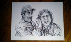 Hear no evil,see no evil, Pen & ink By the Caswell Twins Http://www.facebook.com/vanashartwork #realism #inkdrawing #sharpiedrawing  #draw #greyscale #movie  #filmart #dynamicduos #realisticdrawing #genewilder