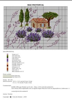 House with lavender Cross Stitch House, Small Cross Stitch, Cross Stitch Flowers, Cross Stitch Charts, Cross Stitch Patterns, Cross Stitching, Cross Stitch Embroidery, Minis, Cross Stitch Geometric