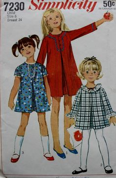 1960s Simplicity Pattern 7230 Child's and Girls' Dress with Detachable Neck and Sleeve Trim