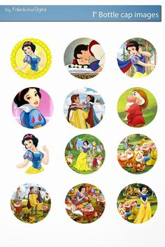 Free Bottle Cap Images: Snow White disney free bottle cap images digital template