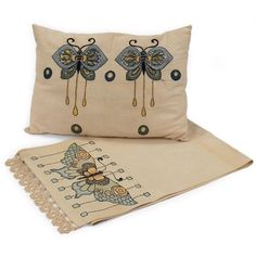 Arts and Crafts pillows, textiles, linens - butterfly