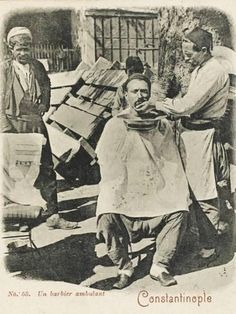 Photographic Print: Travelling Barber, Turkey - Shaving a Customer : Old Photos, Vintage Photos, Ottoman Turks, Old Egypt, Cultural Identity, Ottoman Empire, Historical Pictures, Istanbul Turkey, Artistic Photography