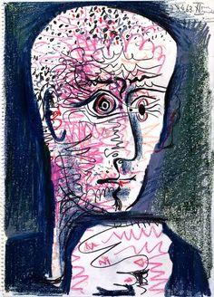 """Pablo Picasso, """"Portrait de Michel Leiris"""",  1963, Graphite et pastels gras sur papier vergé, Centre Pompidou, Paris."""