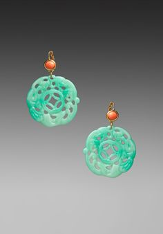 KENNETH JAY LANE Coral Top Carved Jade Earring - Kenneth Jay Lane Coral Earrings, Diamond Earrings, Stone Earrings, Jade Jewelry, Heart Jewelry, Stone Jewelry, Jewelry Box Store, Coral Top, Jade Ring