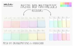 Pastel Bed MattressesAnon request! (Sorry, I decided to recolour bed mattresses instead of a whole bed so I could mix and match bed frames with them ♡)• 10 Colours• Standalone Item• Compatible with The Sims 4 Base Game.Mesh by: orangemittens (Double Bed) & Annachibi (Single Beds)You NEED to download the original meshes, or my recolours won't work. Download: orangemittens double mattress | annachibi single mattressPlease read my terms of use before downloading.Download - MediaFire | MEGA