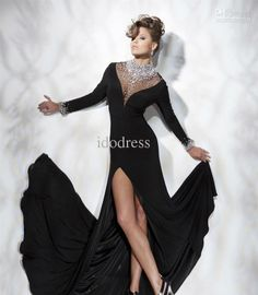 Wholesale Formal Evening Dresses black Sheath With sleeves Rhinestone Front Split Chiffon PD100, Free shipping, $133.28-138.88/Piece | DHgate