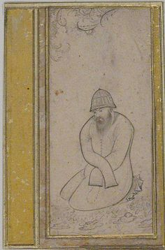 Seated Dervish (Metropolitan Museum of Art) Object Name: Illustrated single work Date: late 16th century Geography: Iran Medium: Ink and watercolor on paper Dimensions: H. 3 1/2 in. (8.9 cm) W. 1 5/8 in. (4.1 cm) Classification: Codices Credit Line: Bequest of George D. Pratt, 1935 Accession Number: 45.174.12