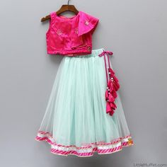 Pre Order: Sleeveless Hot Pint Top With Aqua Blue Ghagra