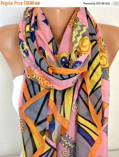 CAT Print Cotton Scarf Shawl Summer Cowl Oversized by fatwoman
